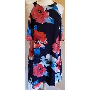Vince Camuto Blue Floral Cold Shoulder Dress